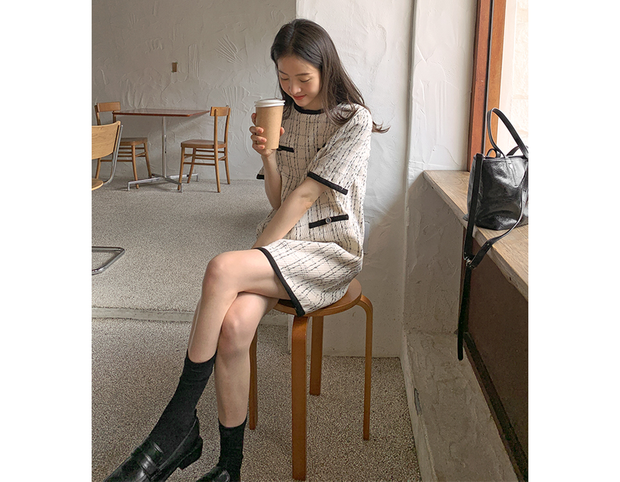 frombeginning-도로시 트위드미니원피스 (2color)♡韓國女裝連身裙