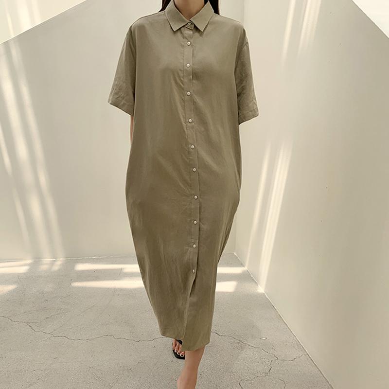 45th-셔츠린넨원피스 ♡韓國女裝連身裙