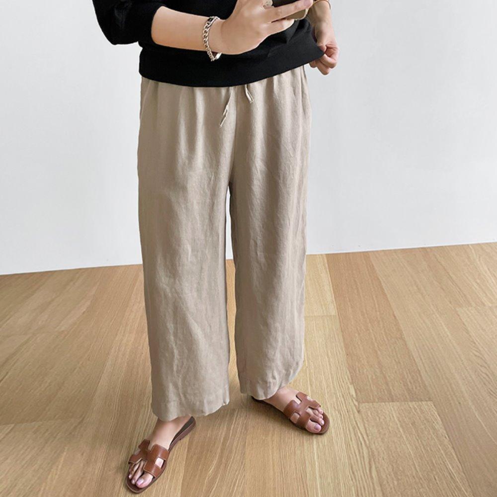 littleblack-플랫 린넨 밴딩 팬츠(2C)(린넨100)♡韓國女裝褲