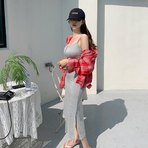 jnroh-에링 버튼 트임 롱 끈원피스 (그레이,블랙)♡韓國女裝連身裙