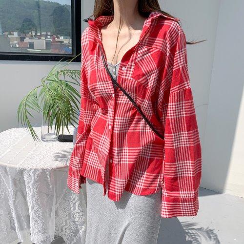 jnroh-쿠이엔 체크 오버핏 롱 썸머 셔츠 (레드,그린)♡韓國女裝上衣