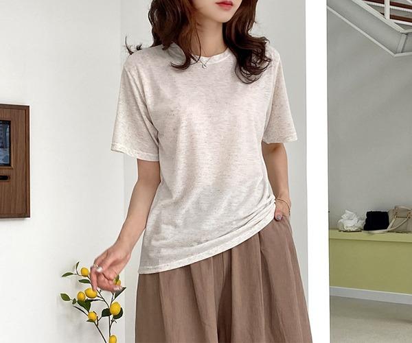 DailyN-소르베 린넨 베이직 반팔 티셔츠♡韓國女裝上衣