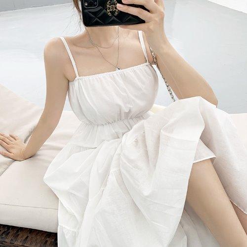 jnroh-(국내) 펠루나 층층 프릴 밴딩 뷔스티에 롱원피스 (아이보리,블랙)♡韓國女裝連身裙