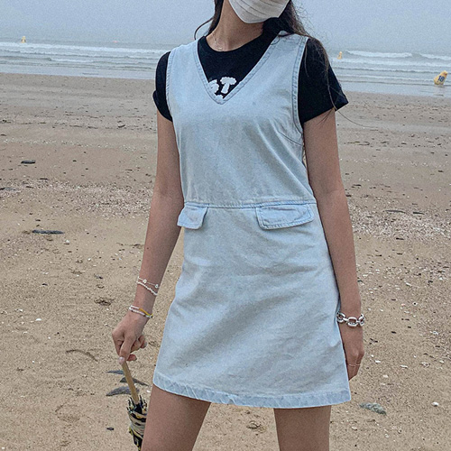 unbutton-[애니 뮤즈 미니-ops]♡韓國女裝連身裙