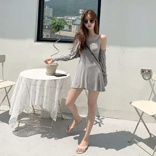 jnroh-제이 셔링 끈 원피스 크롭 가디건 세트 (아이보리,그레이,블랙)♡韓國女裝連身裙套裝