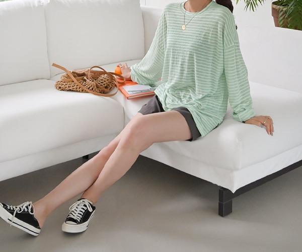 DailyN-쿨워터 썸머 단가라 긴팔 티셔츠♡韓國女裝上衣