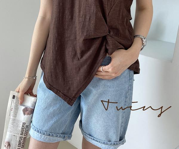 DailyN-트윈스 슬라브 꼬임 반팔 티셔츠♡韓國女裝上衣