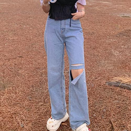 unbutton-[하이 컷팅 데님-pt]♡韓國女裝褲