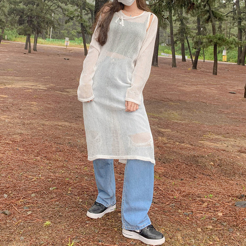 unbutton-[레이어드 심플 망사-ops(이너슬립원피스세트)]♡韓國女裝連身裙