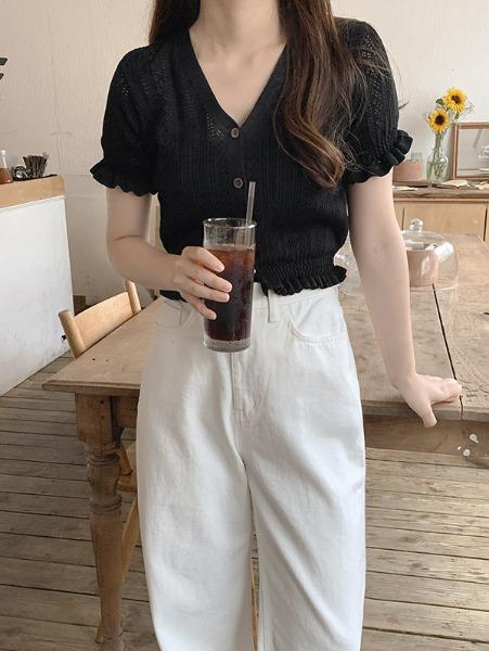 ggsing-[12일9시까지9%할인]송송 크롭가디건 (프릴,브이넥,반팔,무료배송)♡韓國女裝外套