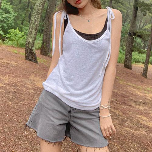 unbutton-[린넨 리본 -s/v]♡韓國女裝上衣