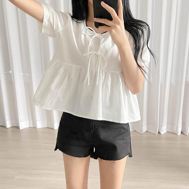 雙緞帶短袖裙襬上衣