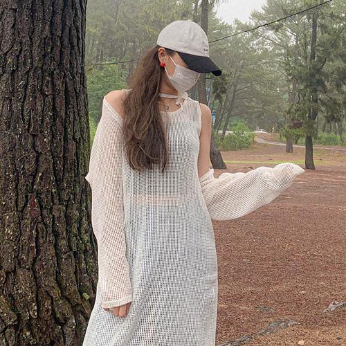 unbutton-[스트랩 망사-cd]♡韓國女裝外套