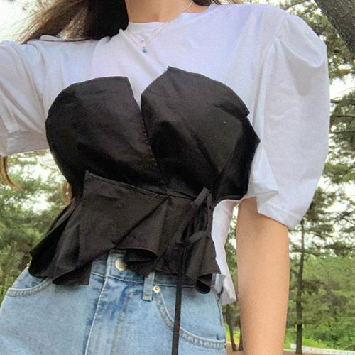 unbutton-[코르셋 레이어드-t]♡韓國女裝上衣