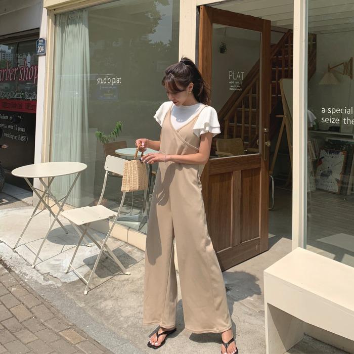 theresheis-코리즈 크로스 점프수트♡韓國女裝褲