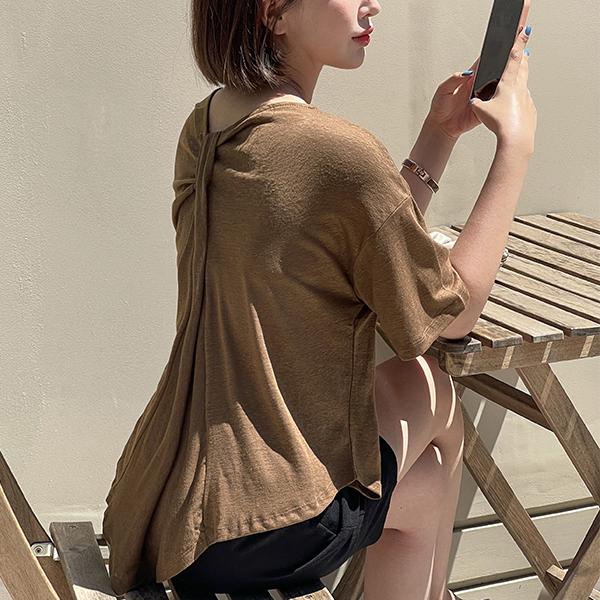 canmart-[뒷꼬임린넨티셔츠 C080537]♡韓國女裝上衣