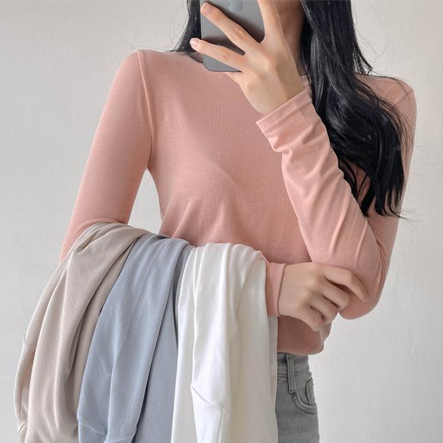 sonyunara-7days♥ 매일 입는 쫀쫀 스판 라운드넥 슬림핏 티셔츠♡韓國女裝上衣