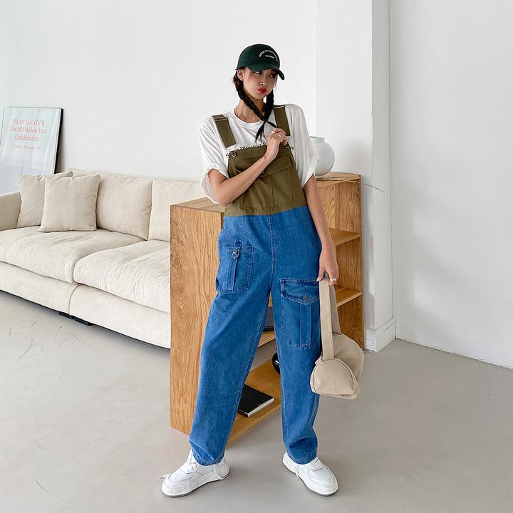 lagirl-배색포켓멜빵팬츠-j/s♡韓國女裝褲