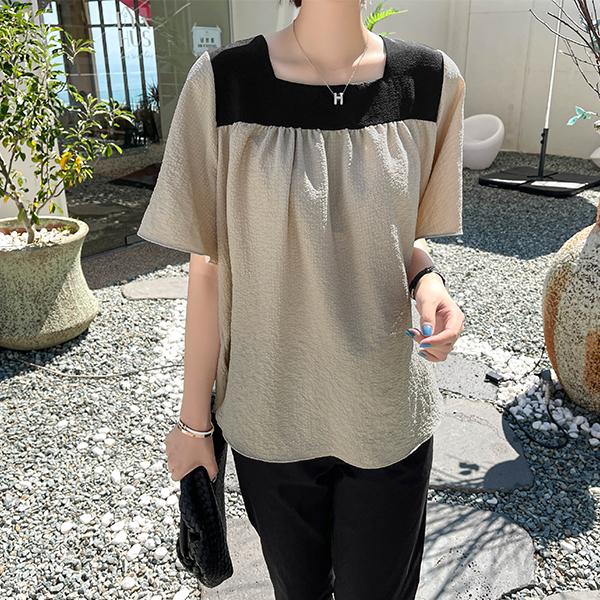 canmart-[링클배색블라우스 C080411]♡韓國女裝上衣