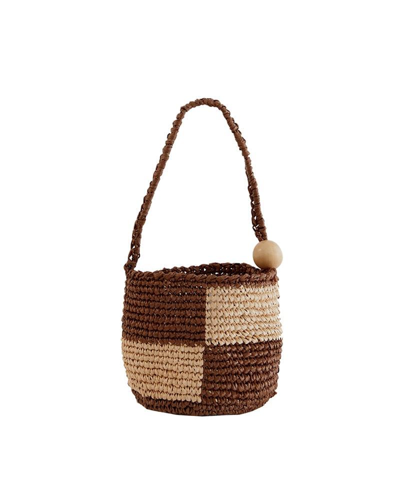 HOLLY LOVES LOVE-Cube bag_Brown♡韓國女裝袋