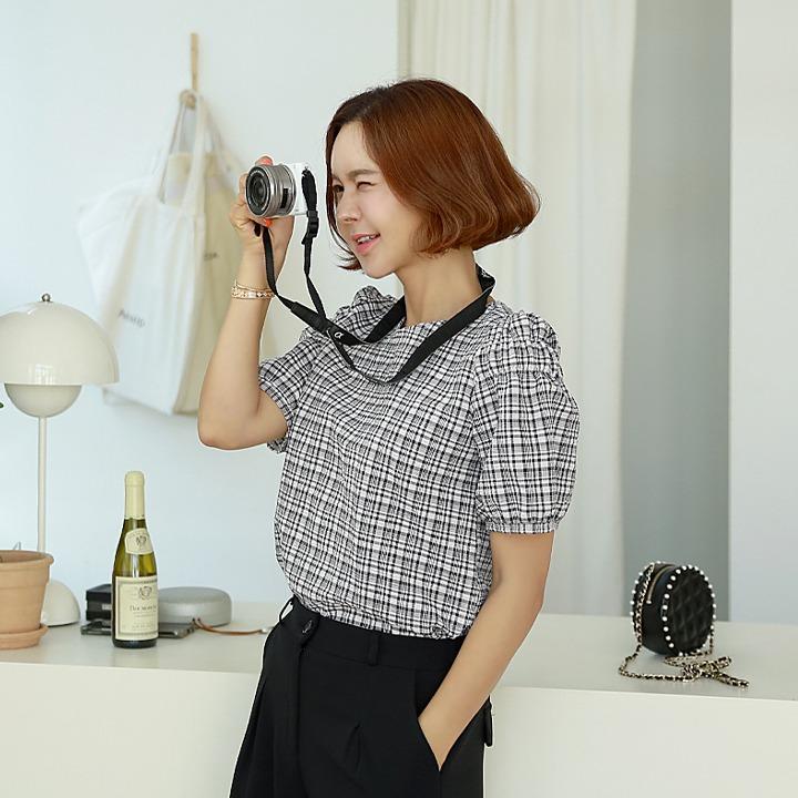 lemite-와플체크 블라우스♡韓國女裝上衣