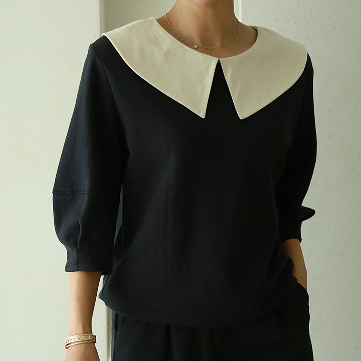 lemite-둥근벌룬 카라티♡韓國女裝上衣