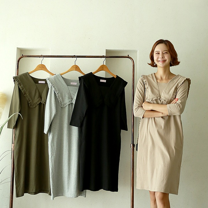 lemite-PL-빅이슈카라 원피스(1차수량당일배송)♡韓國女裝連身裙