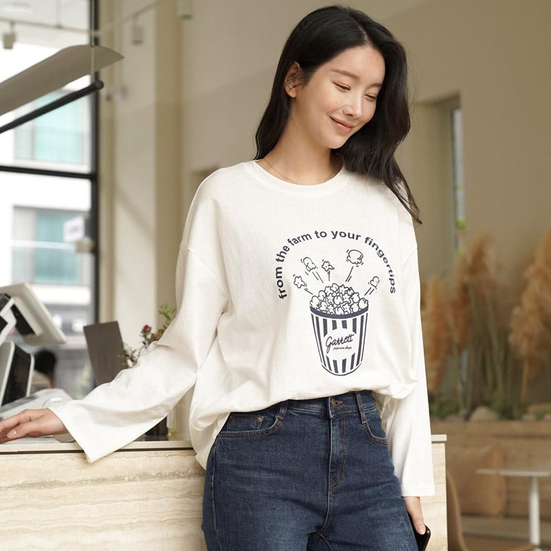 clicknfunny-팝콘 프린팅티셔츠♡韓國女裝上衣
