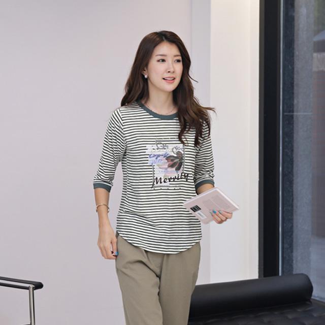 tiramisu-8598슬라브나염스트라이프칠부티♡韓國女裝上衣