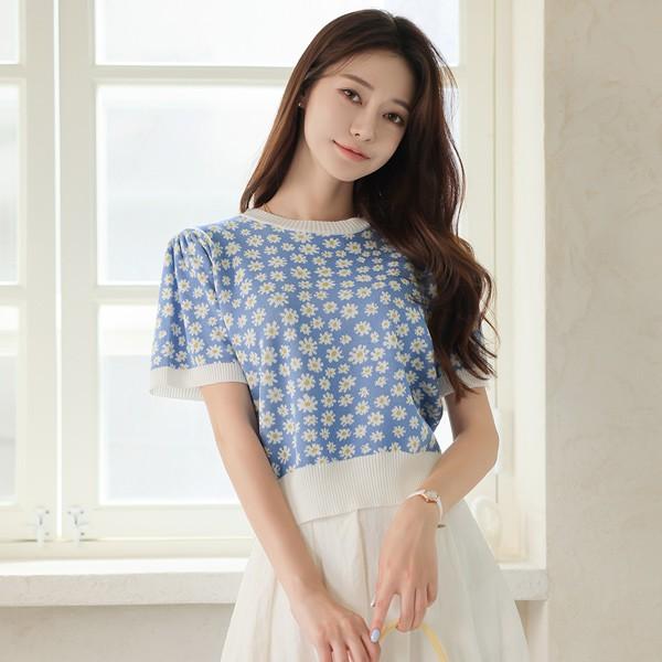 ode-[러블리 데이지 퍼프소매 배색 니트]♡韓國女裝上衣
