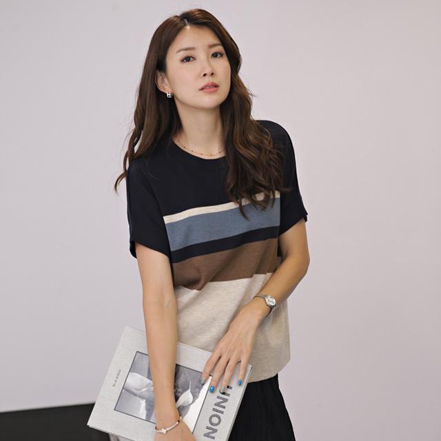 tiramisu-8602컬러포인트가오리니트♡韓國女裝上衣
