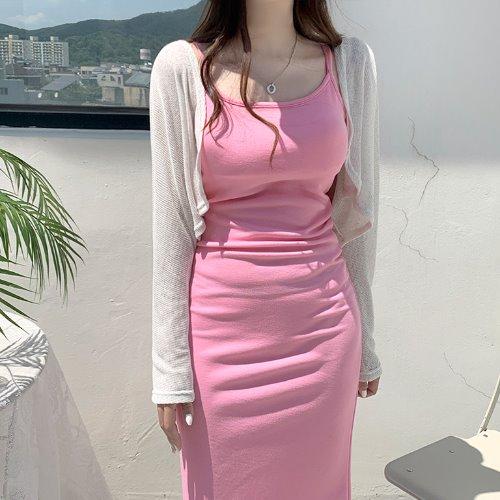 jnroh-(린넨) 디트 볼레로 크롭 가디건 (오트크림,블랙)♡韓國女裝外套