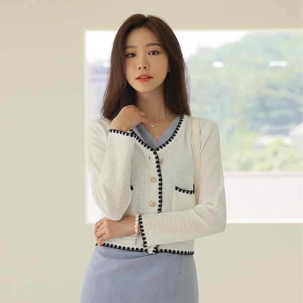 ode-[배색라인 골드 버튼 가디건]♡韓國女裝外套