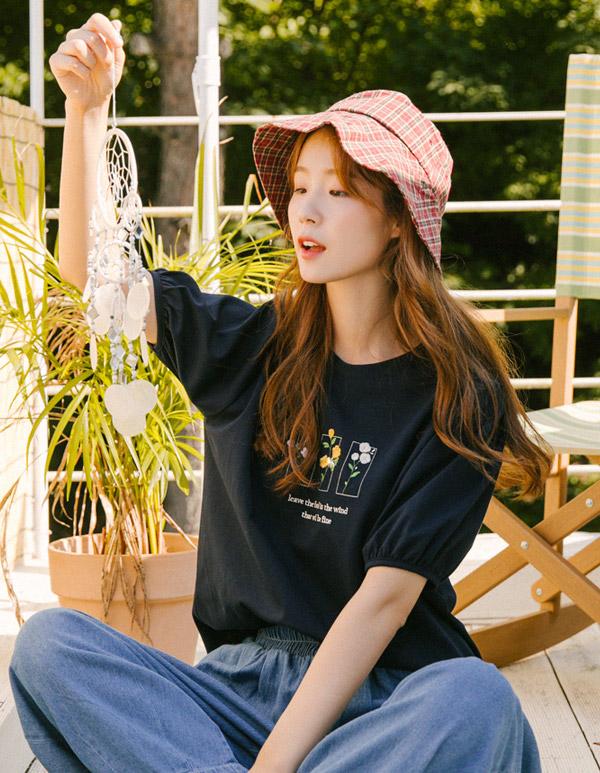 goroke-[파인 꽃자수 T *2c]♡韓國女裝上衣
