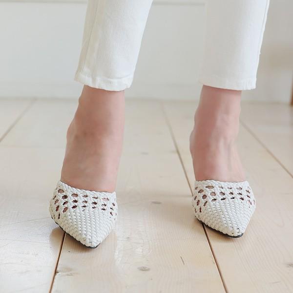 ode-[빈티지 위빙 펀칭 스틸레토힐]♡韓國女裝鞋