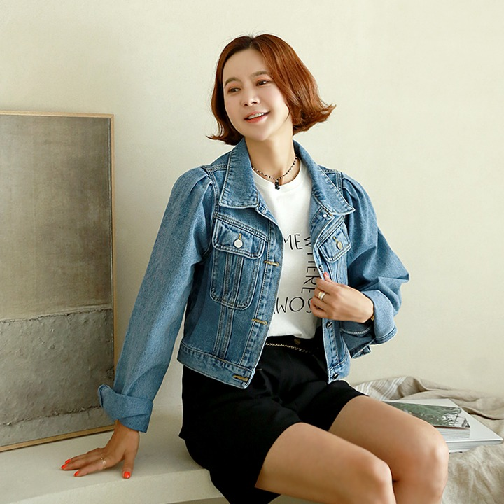 lemite-블리셔링 데님자켓♡韓國女裝外套