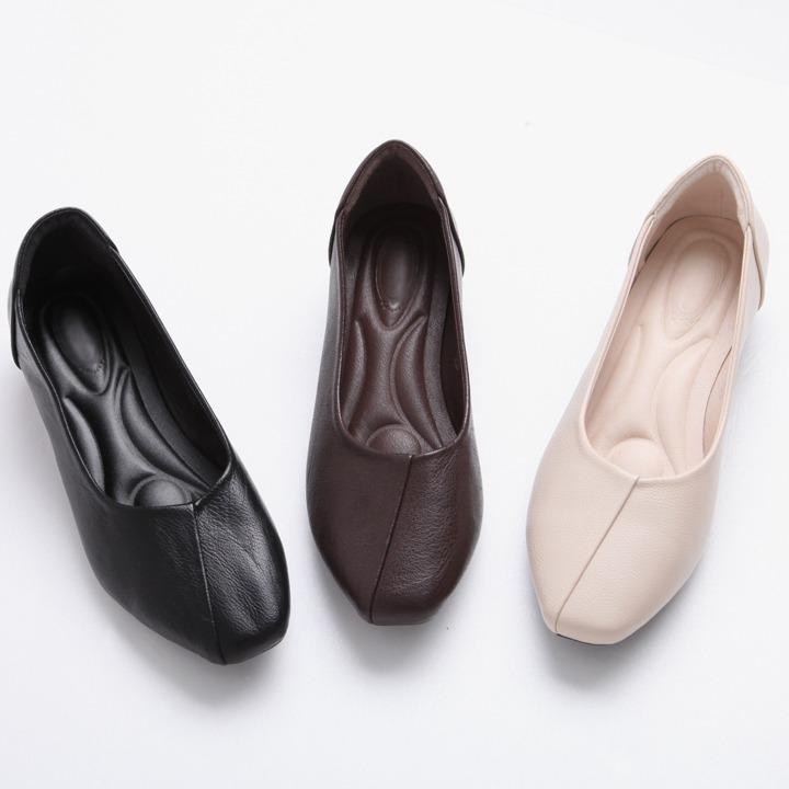 lemite-절개라인 레더플랫♡韓國女裝鞋
