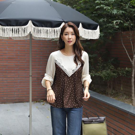 tiramisu-175 땡땡이레이스블라우스♡韓國女裝上衣