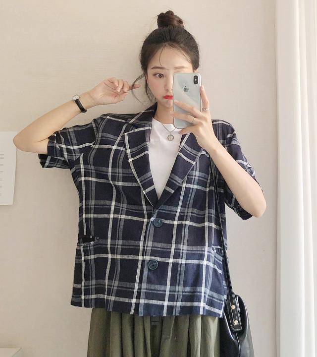 uniqueon-앤드 린넨 체크 반팔 자켓 [H0895]♡韓國女裝外套