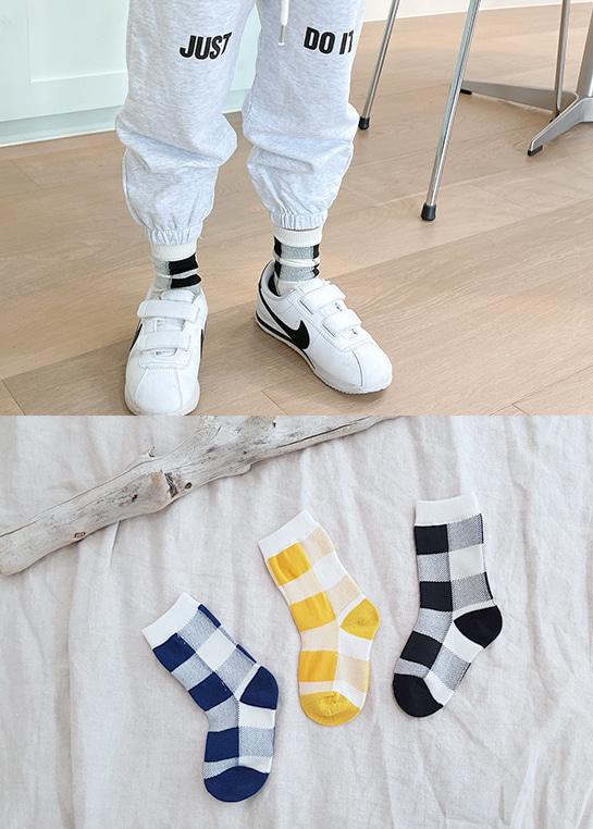 styleggom-빅체크 3종세트♡(3對裝)童裝襪子