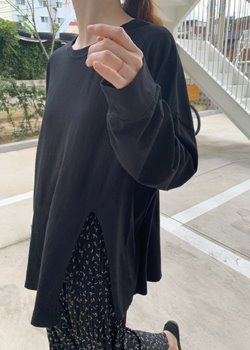 ifgirl-꼬모 트임 티 (3color)♡韓國女裝上衣