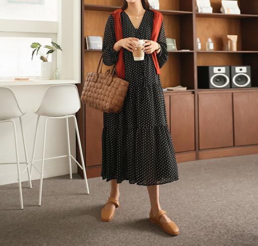 soim-[임부복*도트스트링랩 임산부원피스(수유가능)]♡韓國孕婦裝連身裙