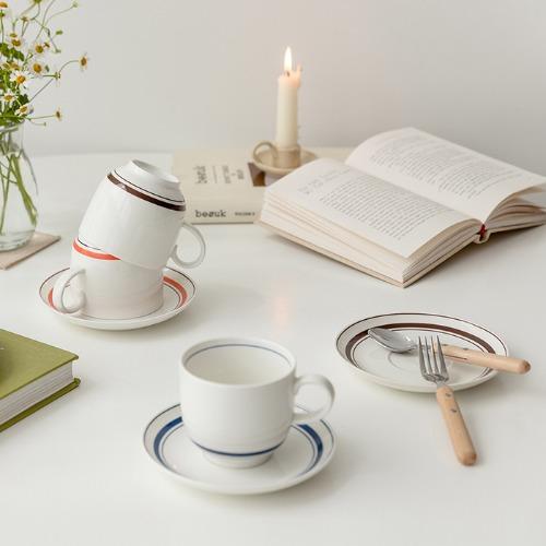 ssueim- Cozy Line 咖啡杯套裝(橙色/藍色/棕色)♡韓國家品杯具