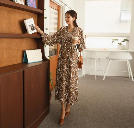 soim-[임부복*마블링조절스트랩 임산부원피스(수유가능)]♡韓國孕婦裝連身裙
