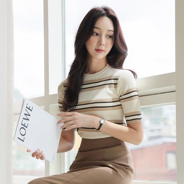 ode-[브라우니 소프트 골지 스트라이프 니트]♡韓國女裝上衣