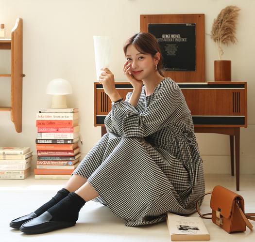 soim-[임부복*피치체크조절 임산부원피스]♡韓國孕婦裝連身裙