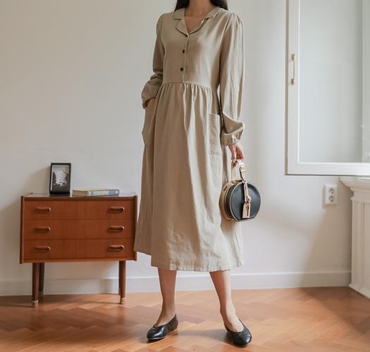 soim-[임부복*플리즈피치카라조절 임산부원피스]♡韓國孕婦裝連身裙