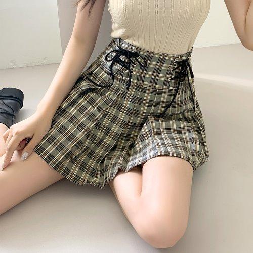 jnroh-몬트 아일렛 플리츠 주름 미니 스커트 (블랙소라)♡韓國女裝裙