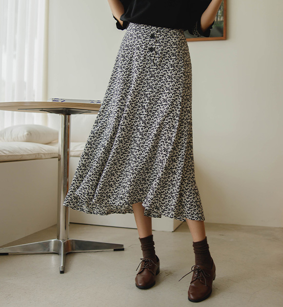 justone-두나 단추장식 꽃스커트♡韓國女裝裙