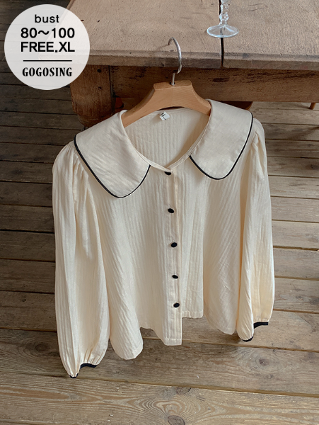 ggsing-[30일9시까지9%할인]러빗 카라BL (긴팔,퍼프,배색,가둘레)♡韓國女裝上衣